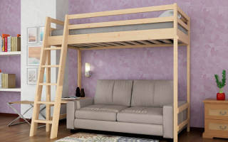 Компактные кровати-чердаки с диваном в интерьере небольших комнат