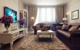 Интерьер с коричневым диваном, правила выбора и расположения